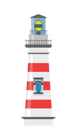 lookout: Lighthouse with red stripes on a white background Illustration