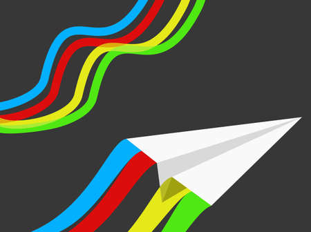 vapor trail: Paper airplane on a gray background with ribbons