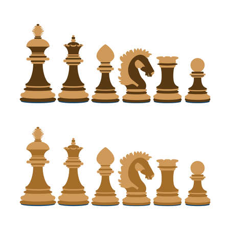 shah: A set of wooden chess on white background Illustration