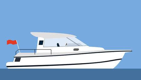 recreational pursuit: Motor yacht on blue background