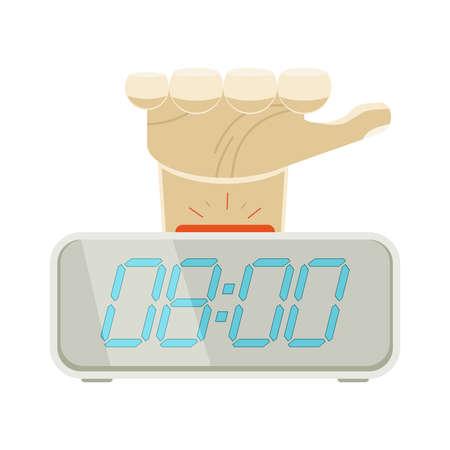 beeping: Hand hitting beeping alarm clock Illustration