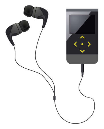 earbud: Auriculares ergon�micos con el jugador en el fondo aislado