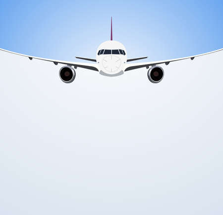 private jet: Passenger airplane in flight on white and grey background