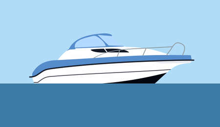 cruising: Cruising motor yacht on blue background