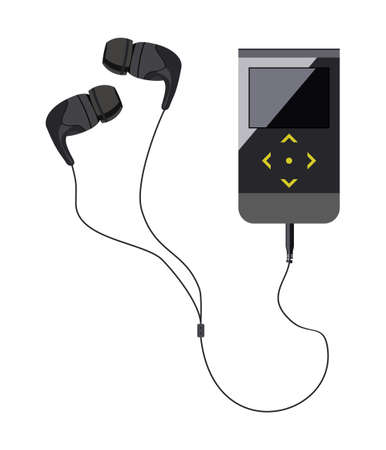 ear drop: Earbud headphones with the player on isolated background