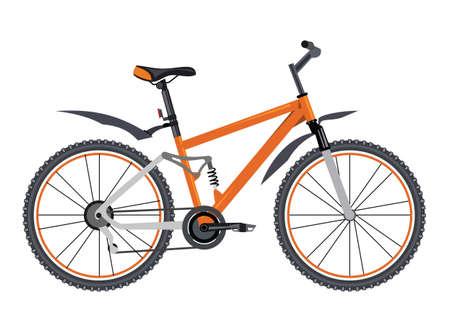 Orange bicycle on white background Vector