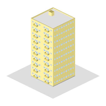 Multi-storey beige house with balcony Vector