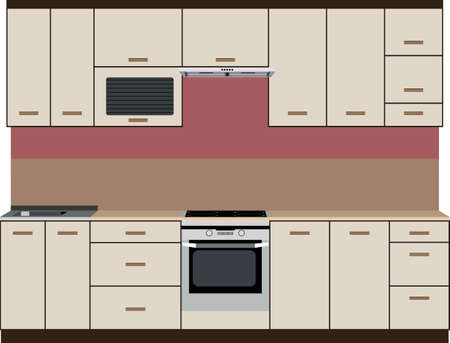 Painted front kitchen with stove, cabinets and sink Illustration
