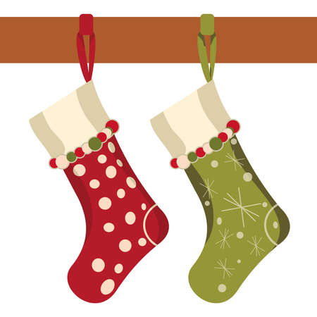 Christmas socks hung on a white background Vector