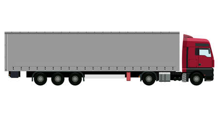 Red truck with trailer on white background Vector