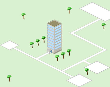 Drawing card approach to building on green background Vector