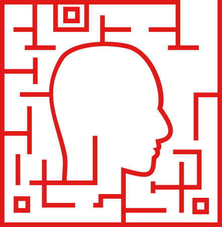 Human head in a labyrinth on a white background Vector