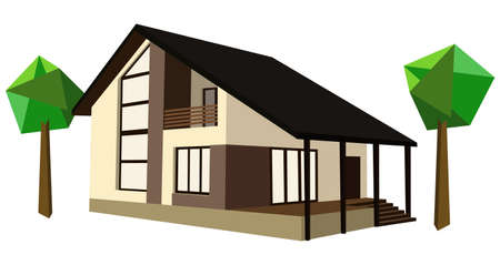 family in front of house: Three-dimensional two-storey house with trees Illustration