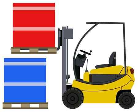 distribution picking up: Loader lifts box to another box