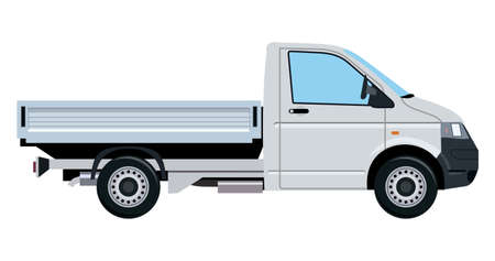 thoroughfare: Small truck without cargo on a white background Illustration