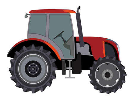 Red tractor a side view on white background Vector