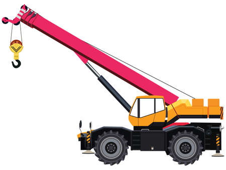 Self-propelled wheeled crane on white background