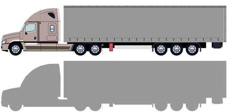LKW mit Anhänger und LKW-Silhouette Standard-Bild - 32372019