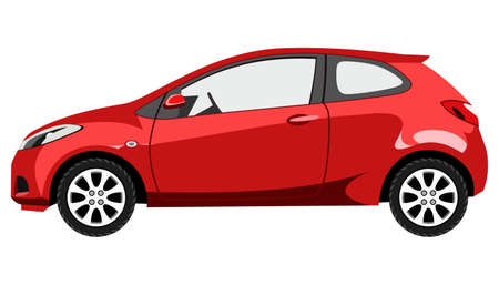 Red hatchback on white background Vector