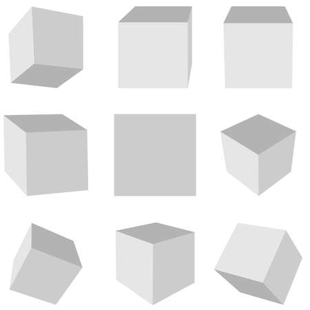 Gray cubes on a white background in different planes Çizim
