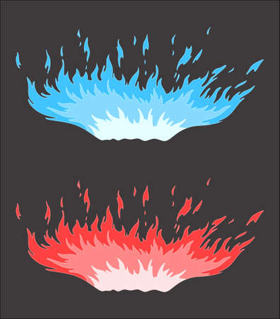 blue flame: Blue and red flame on a gray background Illustration