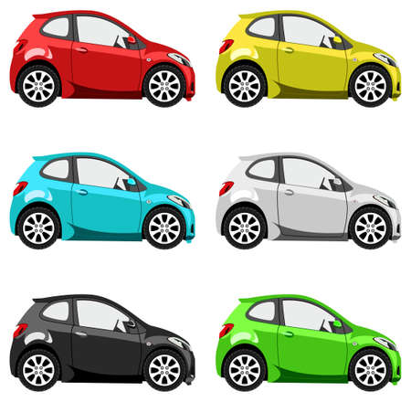 car side view: Set of multicolored toy cars