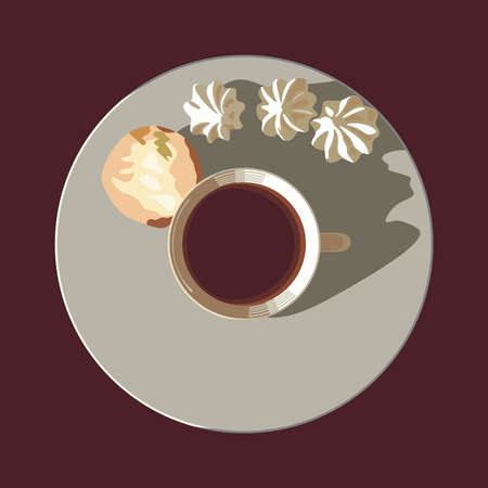 kiss biscuits: A cup of tea on a plate with biscuits and meringues Illustration