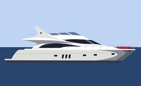 Motor yacht on blue background