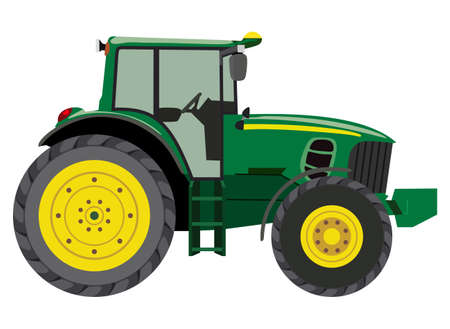 agriculture machinery: Green tractor a side view on white background