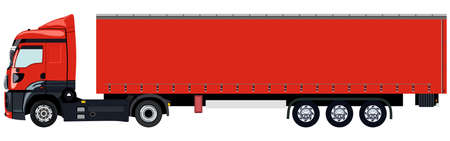 Red truck without a trailer on a white background