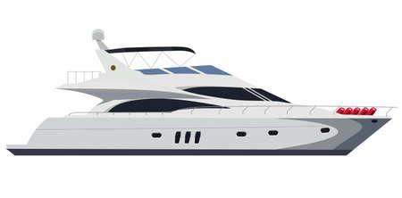 Cruising motor yacht on white background