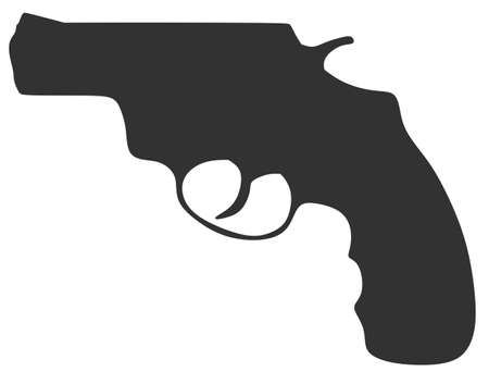 magnum: Silhouette of a revolver on a white background Illustration
