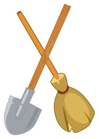 whisk broom: Broom and shovel on white background