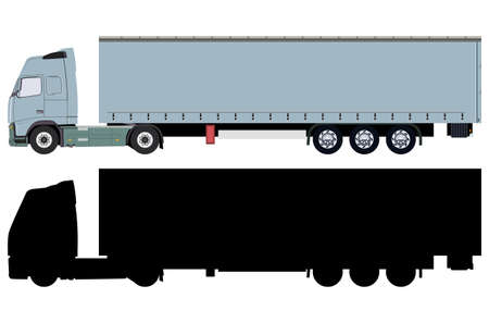 Truck with trailer and truck silhouette