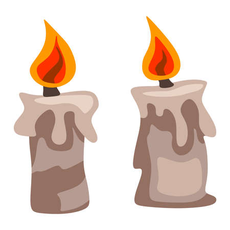 lighted: Two wax candles on a white background Illustration