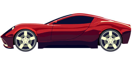 racecar: Side sports red car on a white background