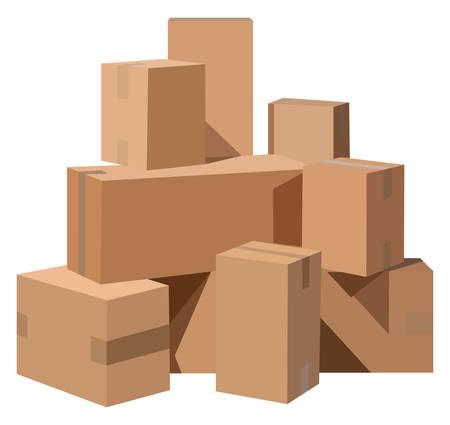 흰색 배경에 골판지 상자 더미