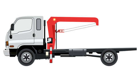 wreckage: Tow truck with a crane on a white background