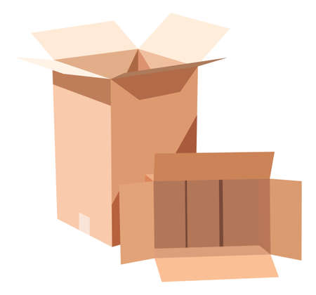 isoated: Two cardboard boxes on white background Illustration