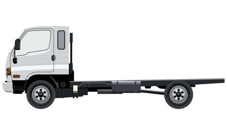 Small truck without cargo on a white background Illustration