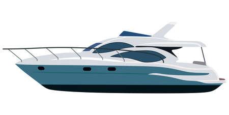cruising: Cruising yacht a motore su sfondo bianco