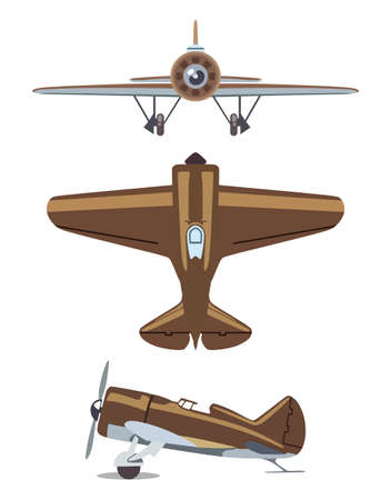 corncob: Old propeller plane on three sides