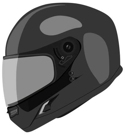 Motorcycle helmet on a white background Çizim
