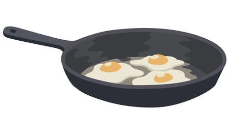 Three eggs in a frying pan on a white background Vector