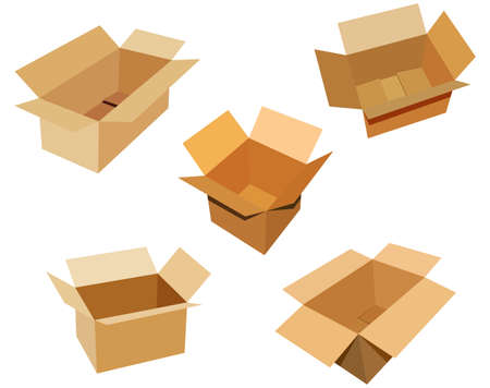isoated: 5 open cardboard boxes on white background
