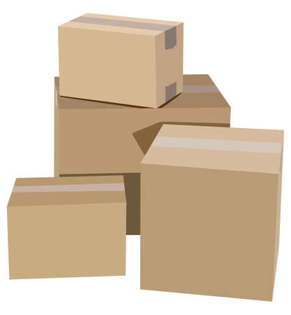 distribution box: Pile of cardboard boxes on a white background