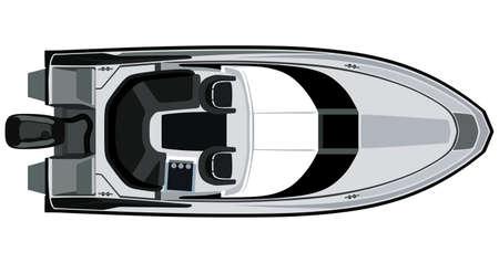 Zeichnung grau Motorboot auf einem weißen Hintergrund Standard-Bild - 38206658