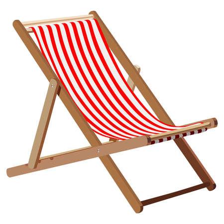 strandstoel: Houten chaise lounge op een witte achtergrond Stock Illustratie
