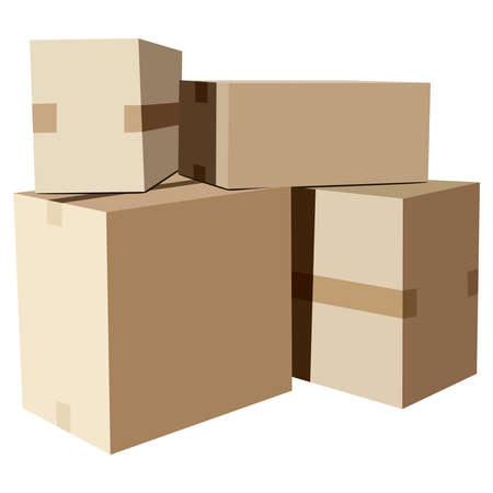isoated: Pile of cardboard boxes on a white background