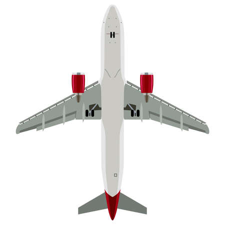 below: Passenger plane view from below on a white background Illustration